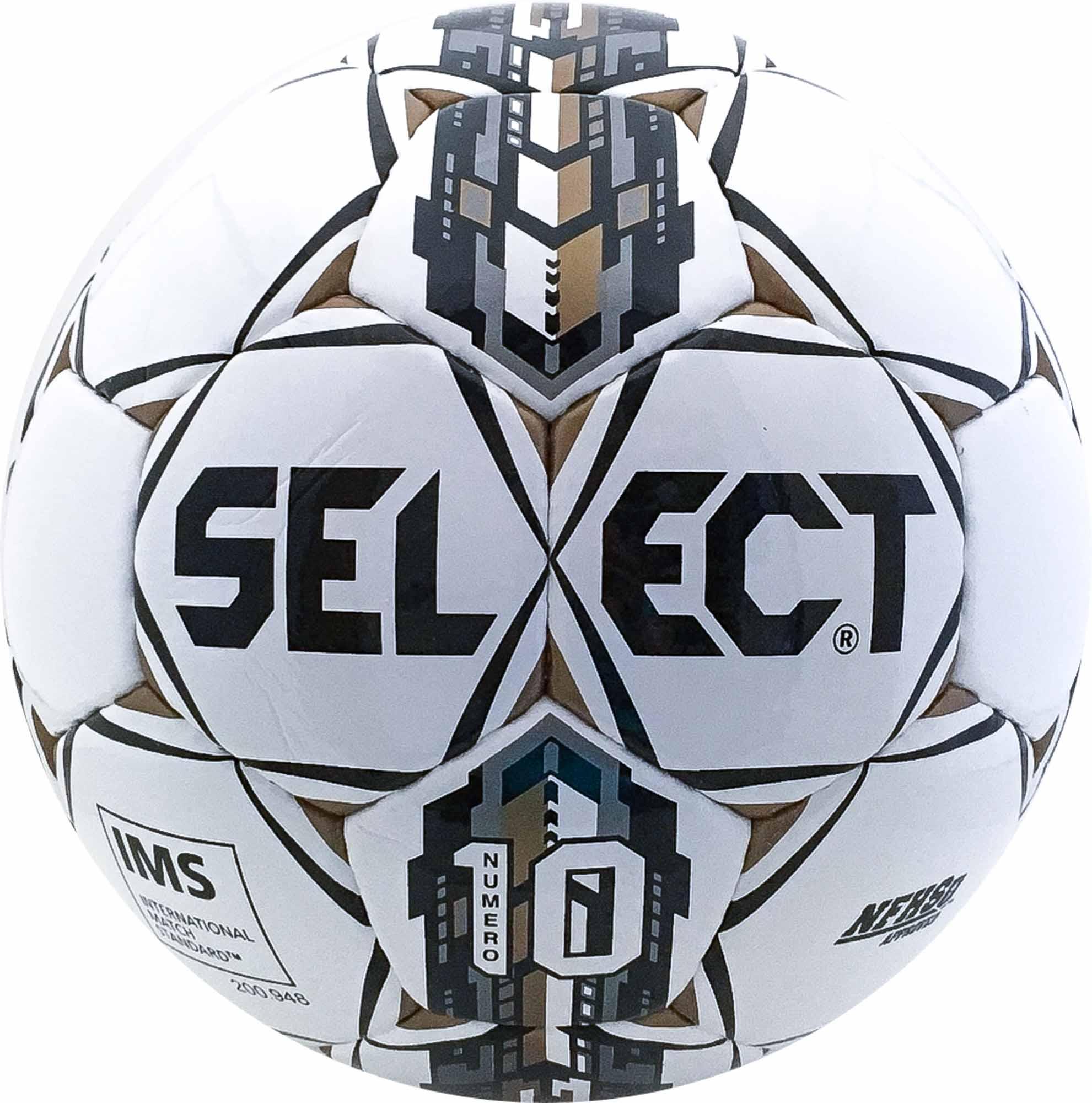 Select Numero 10 NFHS Soccer Ball - White Black Gold - SoccerPro 36f09174f829