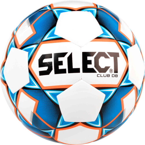 Select Club DB Soccer Ball – White & Blue with Orange