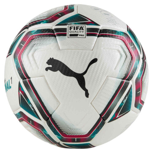Puma Teamfinal 21.1 Premium Match Soccer Ball – White & Rose Red with Ocean Depths