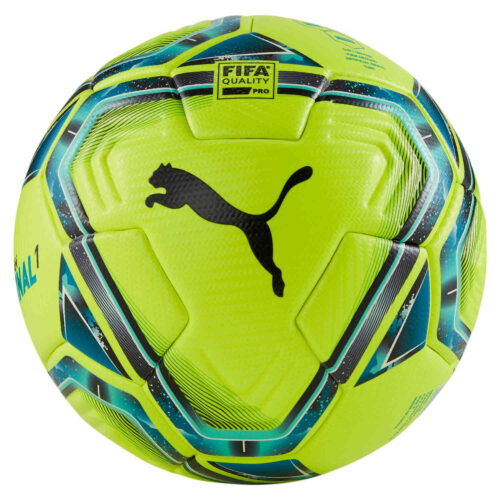 Puma Teamfinal 21.1 Premium Match Soccer Ball – Lemon Tonic & Spectra Green with Ocean Depths