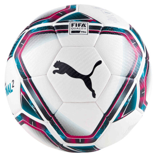 Puma Teamfinal 21.2 Match Soccer Ball – White & Rose Red with Ocean Depths
