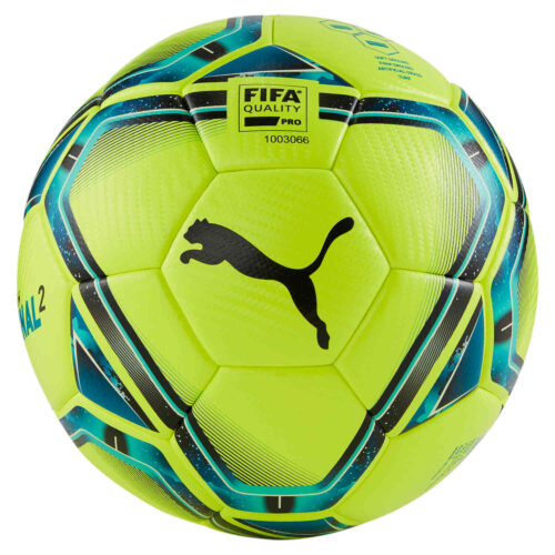 Puma Teamfinal 21.2 Match Soccer Ball – Lemon Tonic & Spectra Green with Ocean Depths