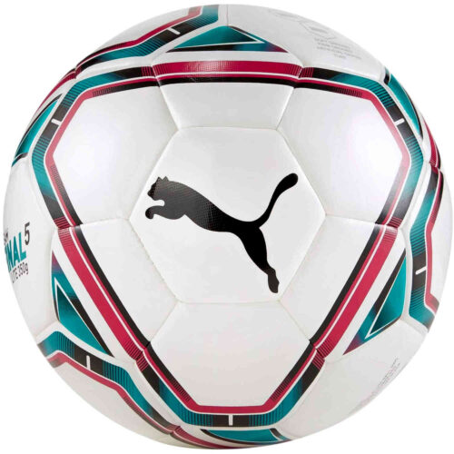 Puma Teamfinal 21.3 Soccer Ball – White & Rose Red with Ocean Depths