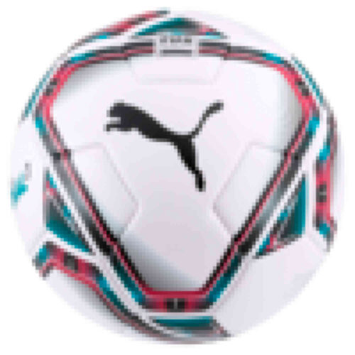 Kids Puma Teamfinal 21.3 Soccer Ball – White & Rose Red with Ocean Depths