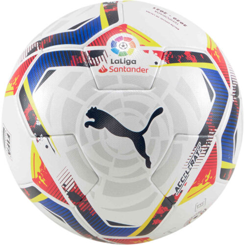 PUMA La Liga 1 Accelerate Soccer Ball – White & Multicolour