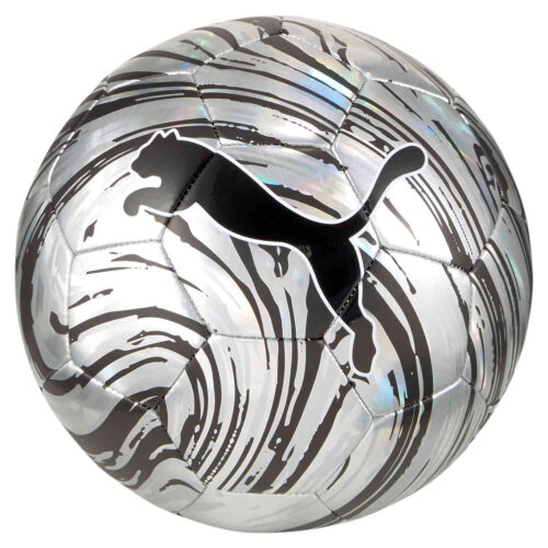 Kids Puma Shock Soccer Ball – Metallic Silver & Black