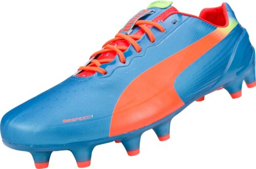 PUMA evoSPEED 1.2 FG Soccer Cleats  Sharks Blue/Fluro Peach