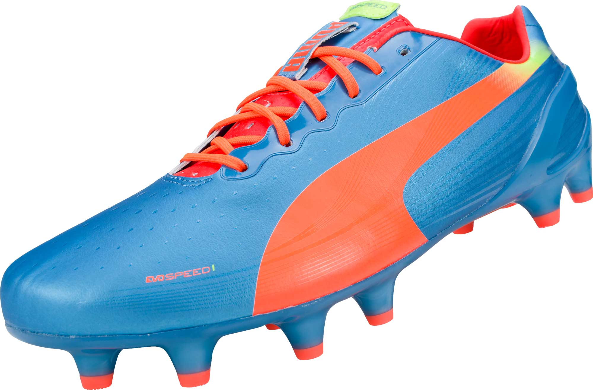 PUMA evoSPEED 1.2 FG Soccer Cleats Sharks Blue Fluro Peach 27fddd70a