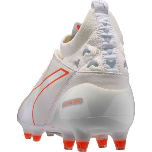 PUMA evoTOUCH Pro FG – White/Shocking Orange