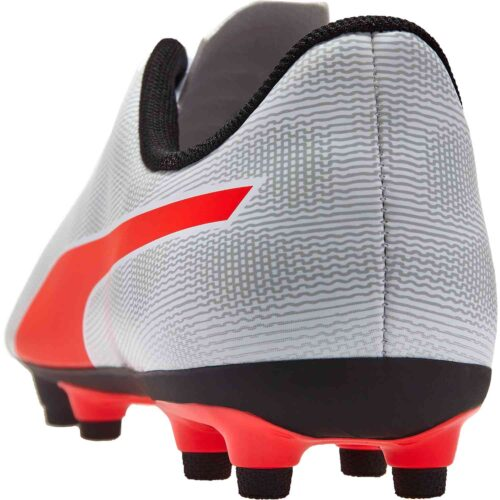 Kids Puma Rapido FG – Puma White/Light Gray Heather/Puma Black/Red Blast