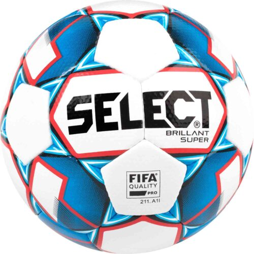 Select Brillant Super Premium Match Soccer Ball – White/Blue/Red