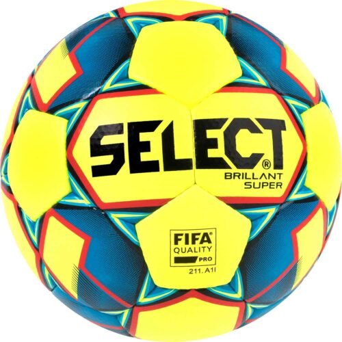 Select Brillant Super Premium Match Soccer Ball – Yellow/Blue/Red