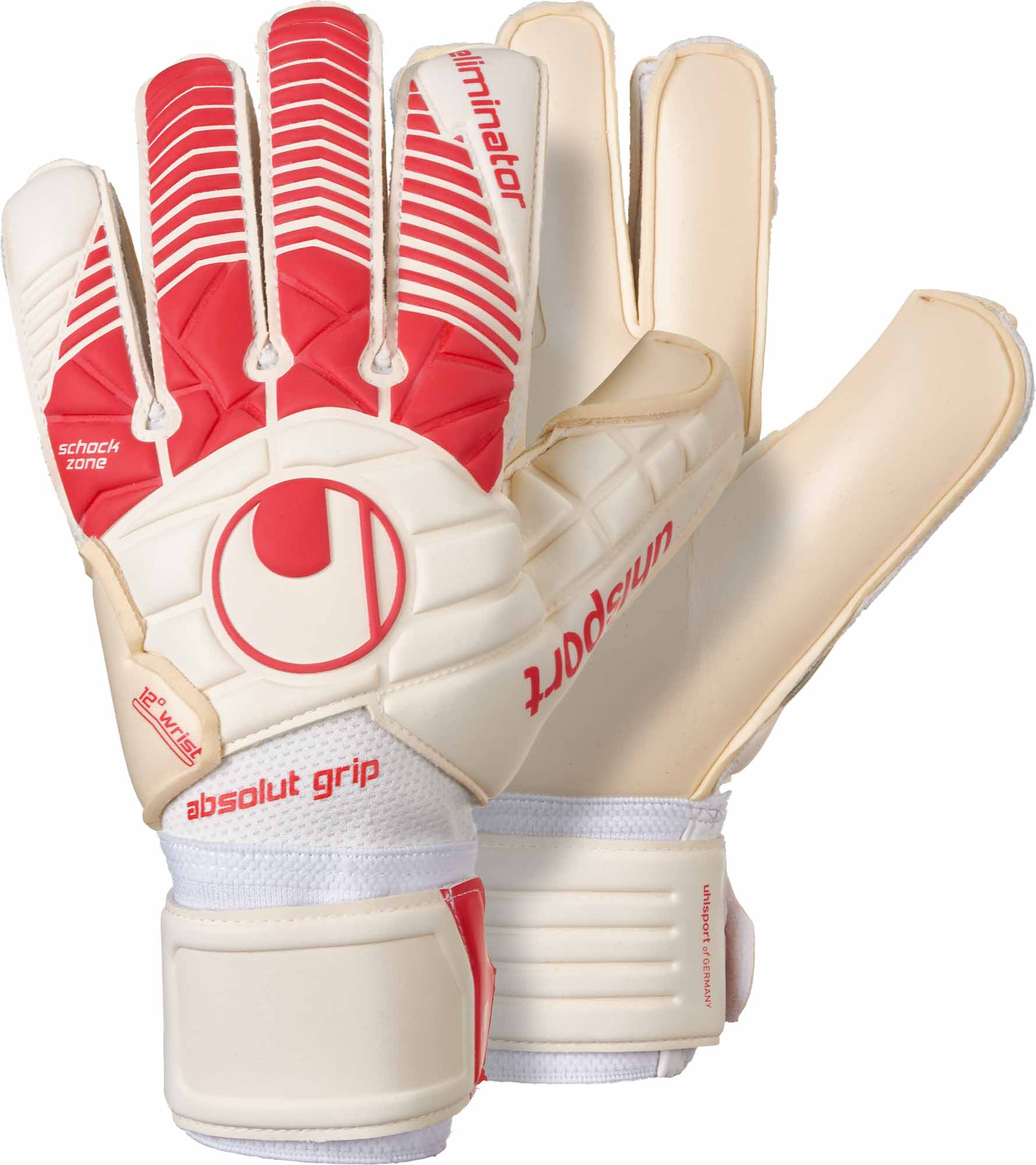 4321ddc8efe9 Uhlsport Eliminator Absolutgrip Goalkeeper Gloves - White & Red