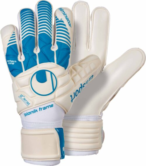 Uhlsport Eliminator Supersoft Bionik Goalkeeper Gloves – White/Cyan