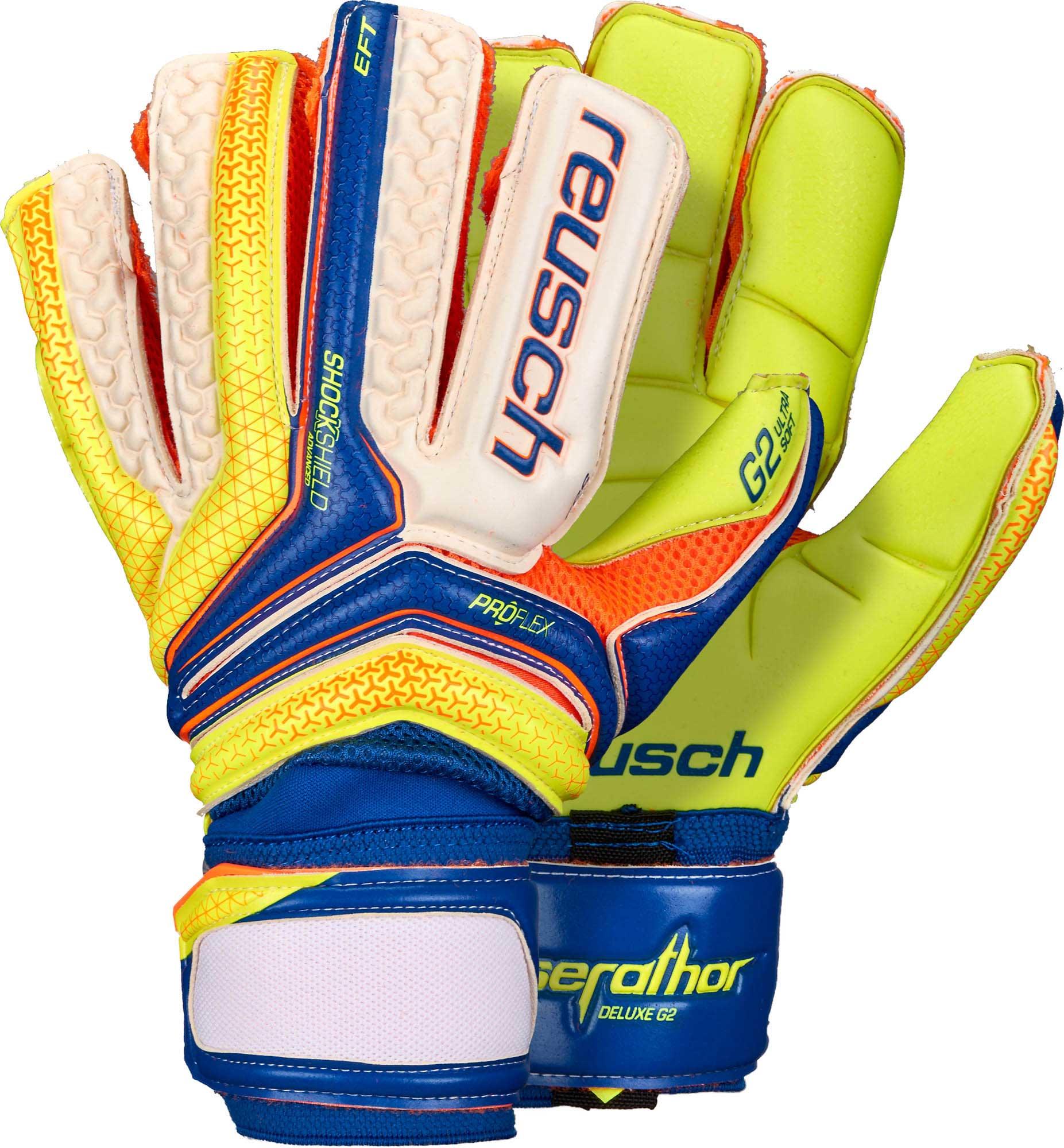 Reusch Serathor Deluxe G2 Goalkeeper Gloves – Dazzling Blue Safety Yellow 7a4fef85f
