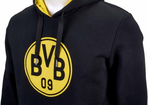 Puma Borussia Dortmund Crest Hoodie – Black/Cyber Yellow