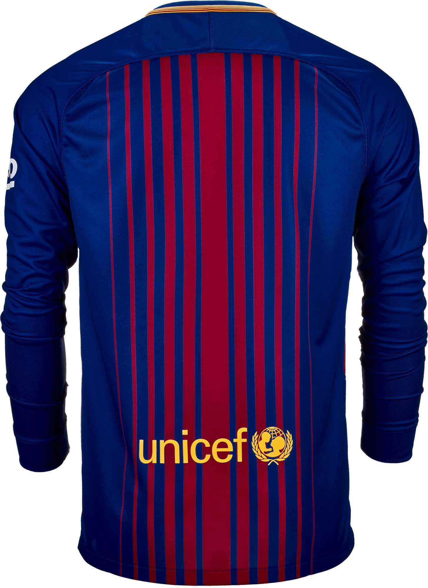 83157ed58 2017 18 Nike Barcelona Home L S Jersey - SoccerPro.com