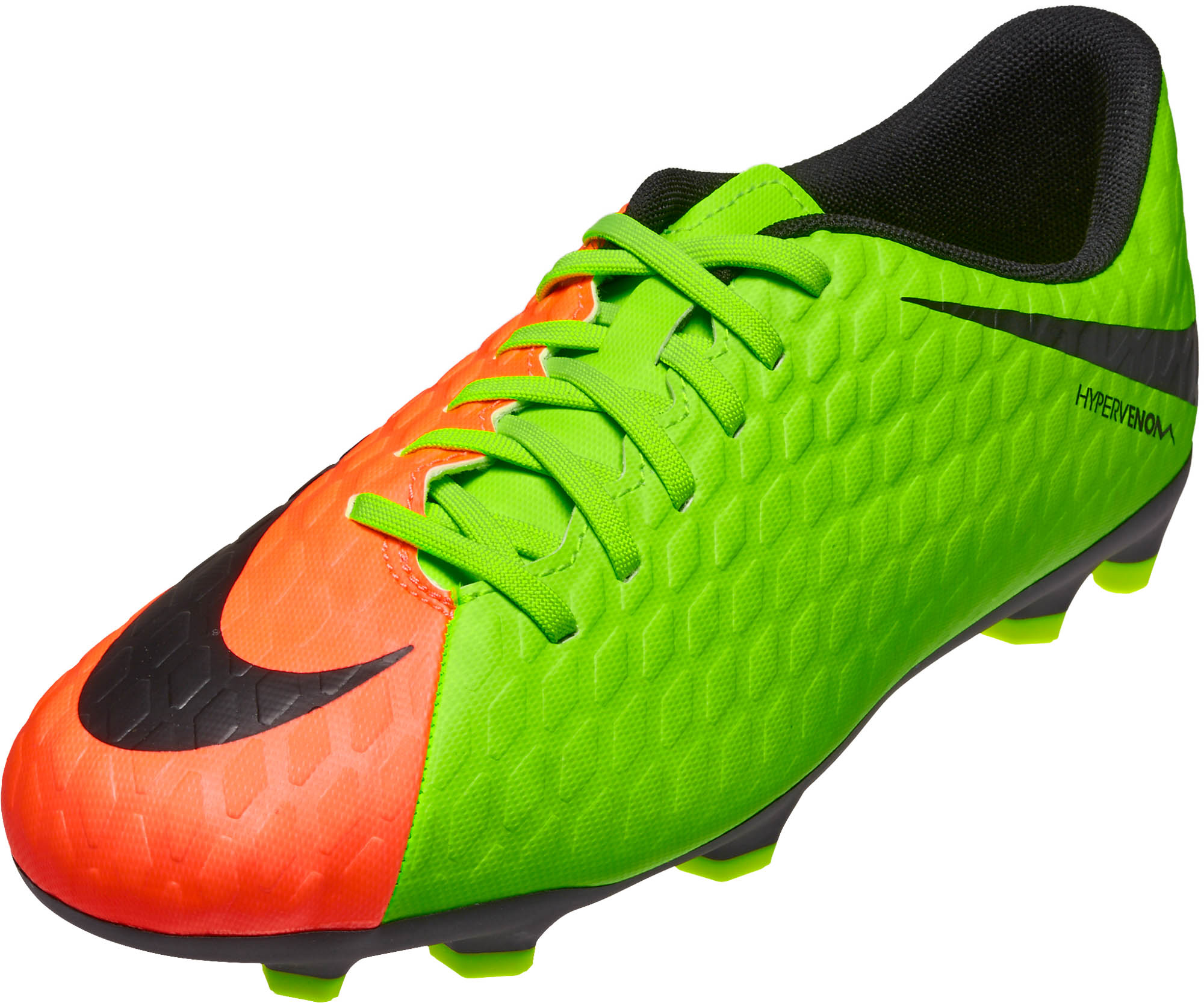 fe3de28d1db41 Nike Kids Hypervenom Phade III FG – Electric Green/Hyper Orange