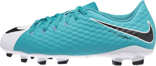 Nike Kids Hypervenom Phelon III FG – White/Photo Blue