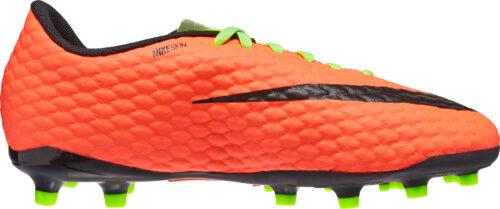 Nike Kids Hypervenom Phelon III FG – Electric Green/Hyper Orange