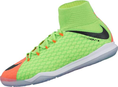 Nike Kids HypervenomX Proximo II IC – Electric Green/Hyper Orange