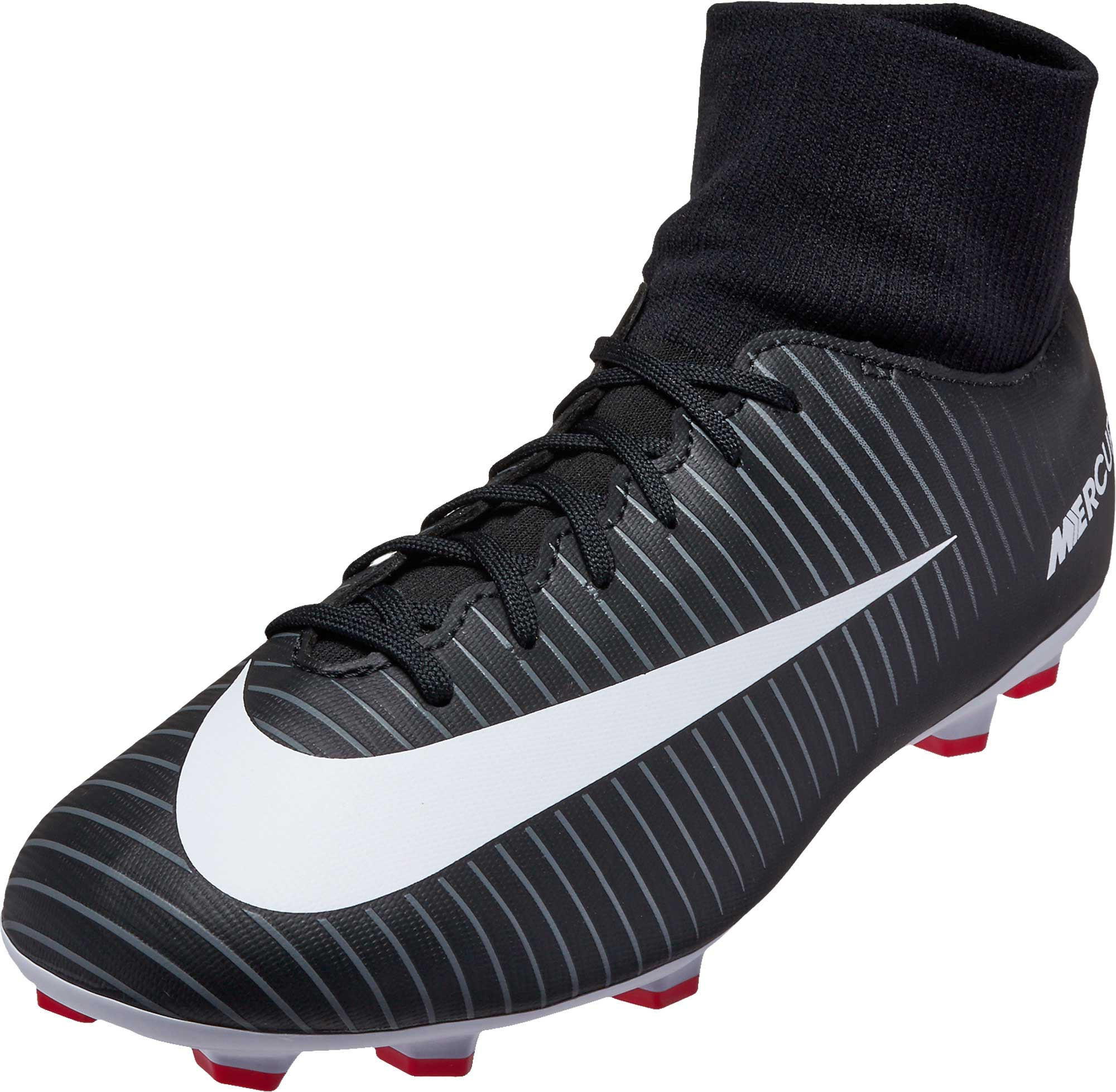 ab7d322db Nike Kids Mercurial Victory VI DF - Black and White Soccer Cleats