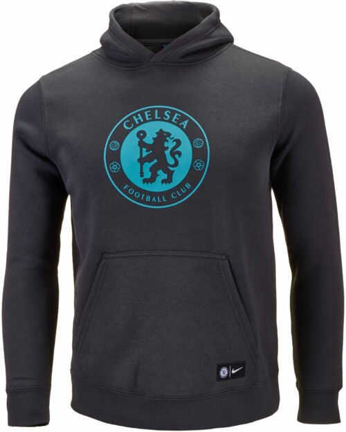 Nike Youth Chelsea Crest Hoodie – Anthracite/Omega Blue
