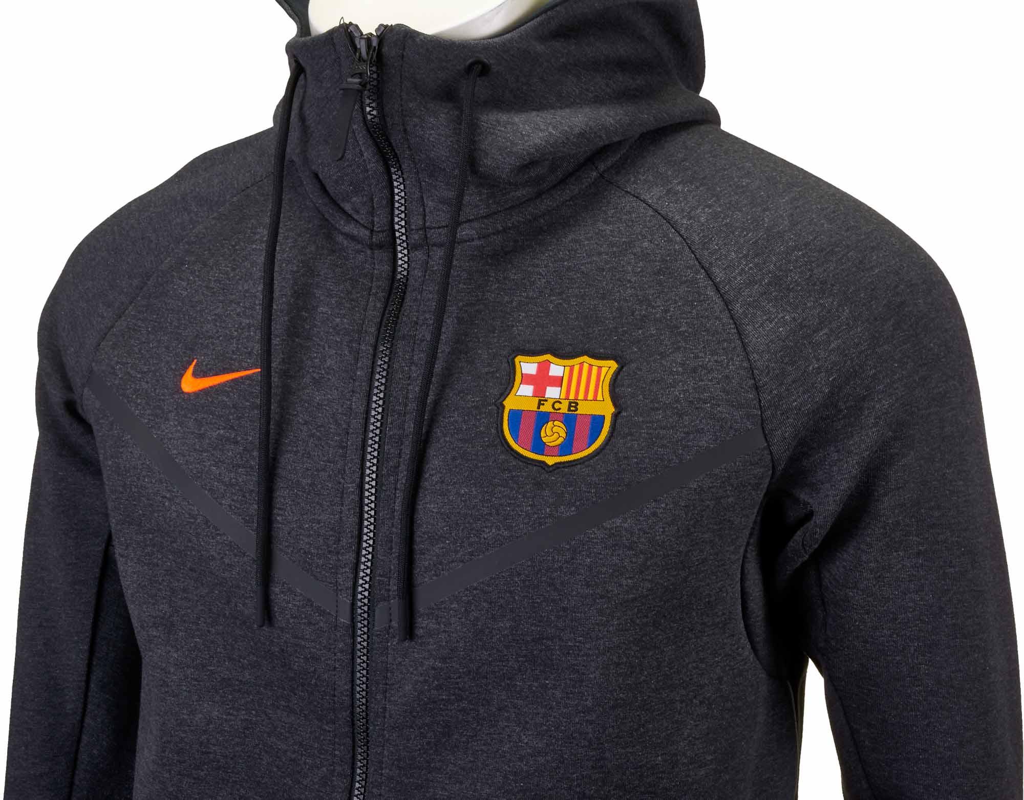 e2a47c48e Nike Barcelona Tech Fleece Windrunner Jacket – Black Heather Hyper Crimson