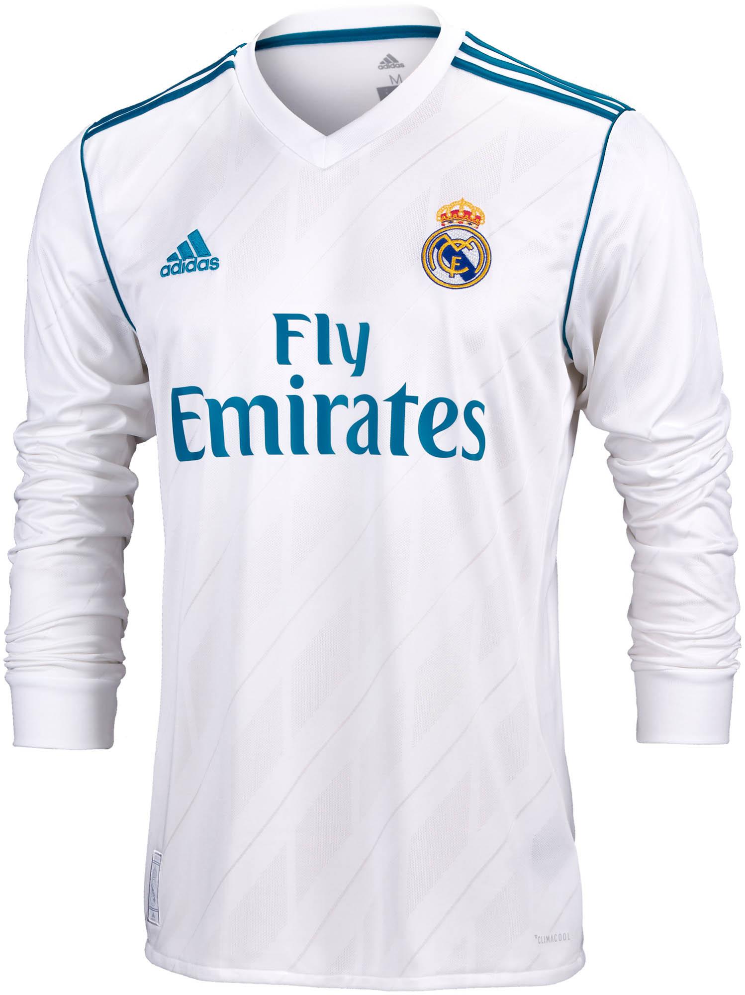 2017/18 adidas Real Madrid L/S Home Jerseys