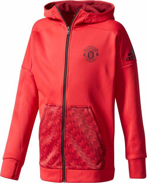 adidas Kids Manchester United Full-Zip Hoodie – Real Red/Collegiate Burgundy