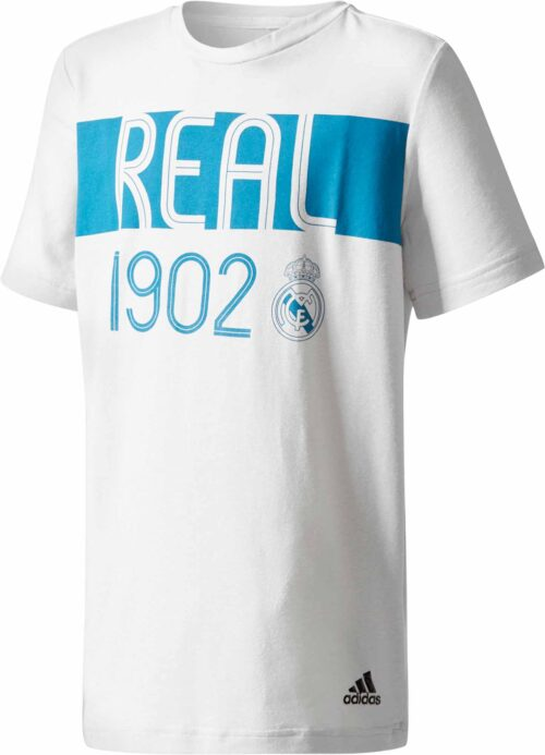 adidas Kids Real Madrid Tee – Grey One/Vivid Teal