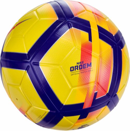 Nike Ordem V Hi-vis Match Ball – Premier League – Yellow/Crimson