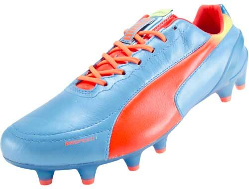 PUMA evoSPEED 1.2 Leather FG Soccer Cleats  Sharks Blue/Peach