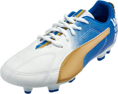 PUMA Kids MB 9 FG Soccer Cleats – White/Gold