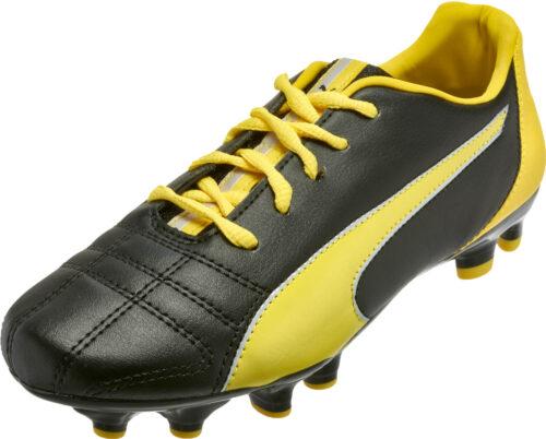 PUMA Kids Marco 11 FG Soccer Cleats – Black/Yellow