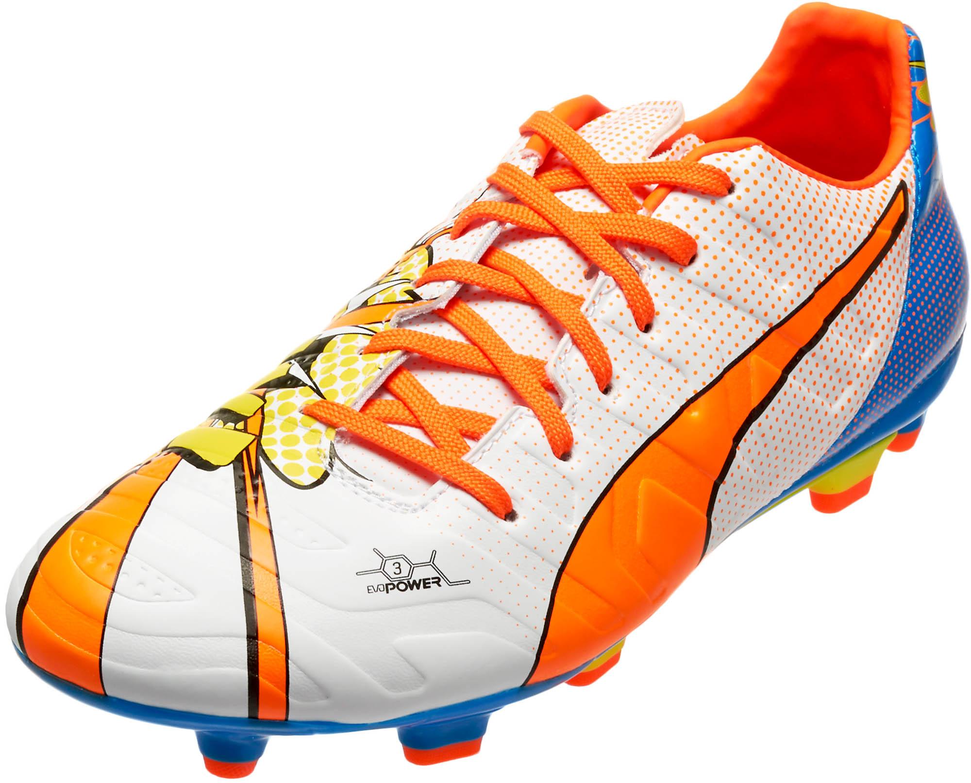 9e2d56ef8841 PUMA Kids evoPOWER 3.2 Graphic FG Soccer Cleats – White Orange Clown Fish