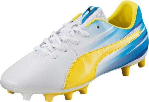 PUMA Kids Aguero V2 FG – White/Blazing Yellow