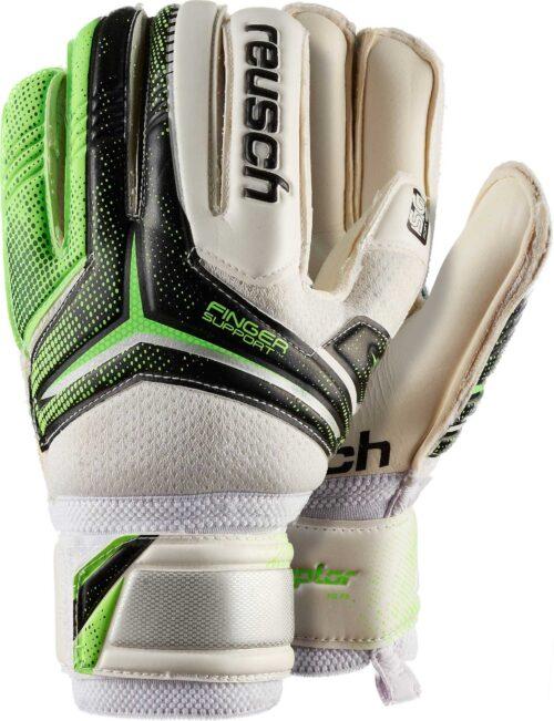 Reusch Youth RE:CEPTOR SG Finger Support Goalkeeper Gloves – Black/Green