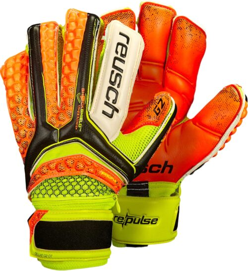 Reusch Pulse Deluxe G2 Ortho-Tec Goalkeeper Gloves – Black/Shocking Orange
