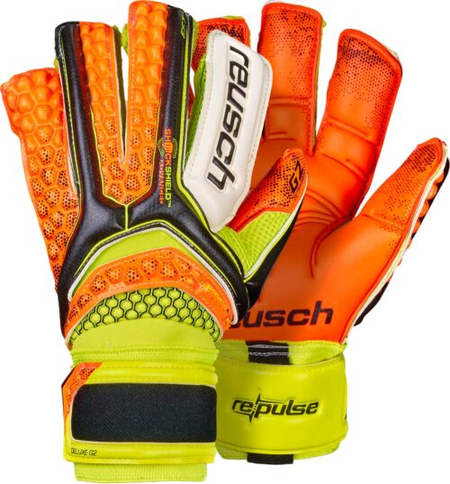Reusch Pulse Deluxe G2 Goalkeeper Gloves – Black/Shocking Orange
