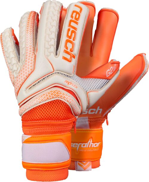 Reusch Serathor Pro G2 Evolution Ortho-Tec Goalkeeper Gloves – White/Shocking Orange