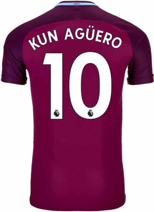 Nike Sergio Aguero Manchester City Away Match Jersey 2017-18