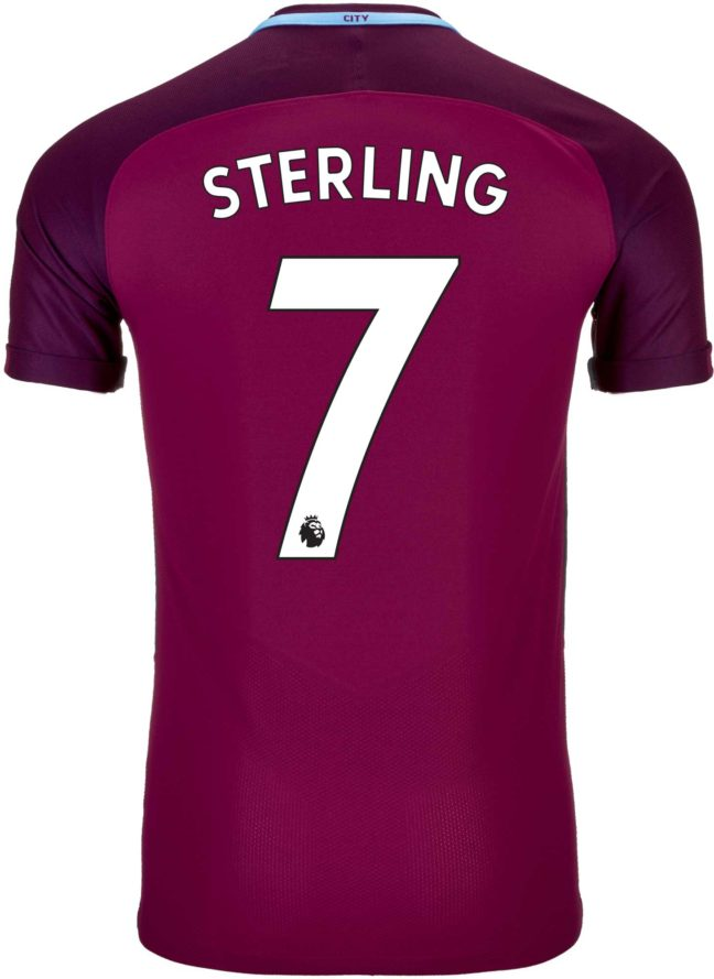 Nike Raheem Sterling Manchester City Away Match Jersey 2017-18