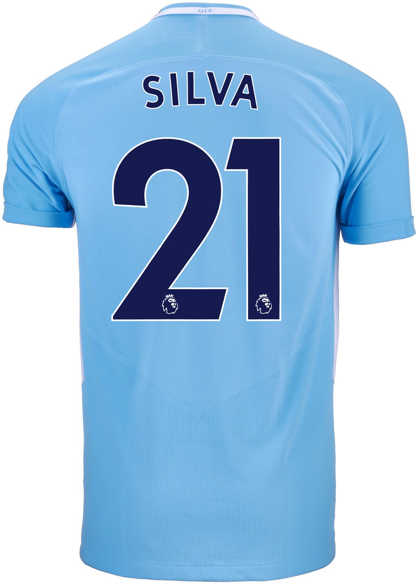 Nike David Silva Manchester City Match Home Jersey 2017-18 ...