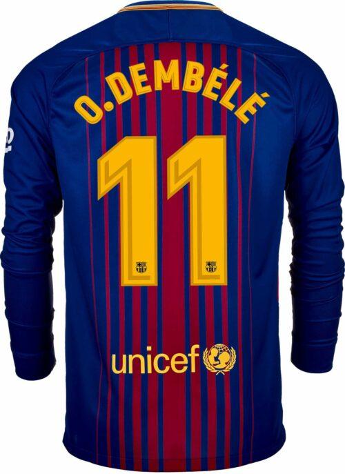 Nike Ousmane Dembele Barcelona L/S Home Jersey 2017-18