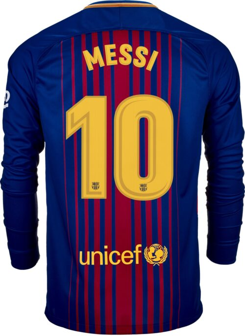 Nike Lionel Messi Barcelona L/S Home Jersey 2017-18