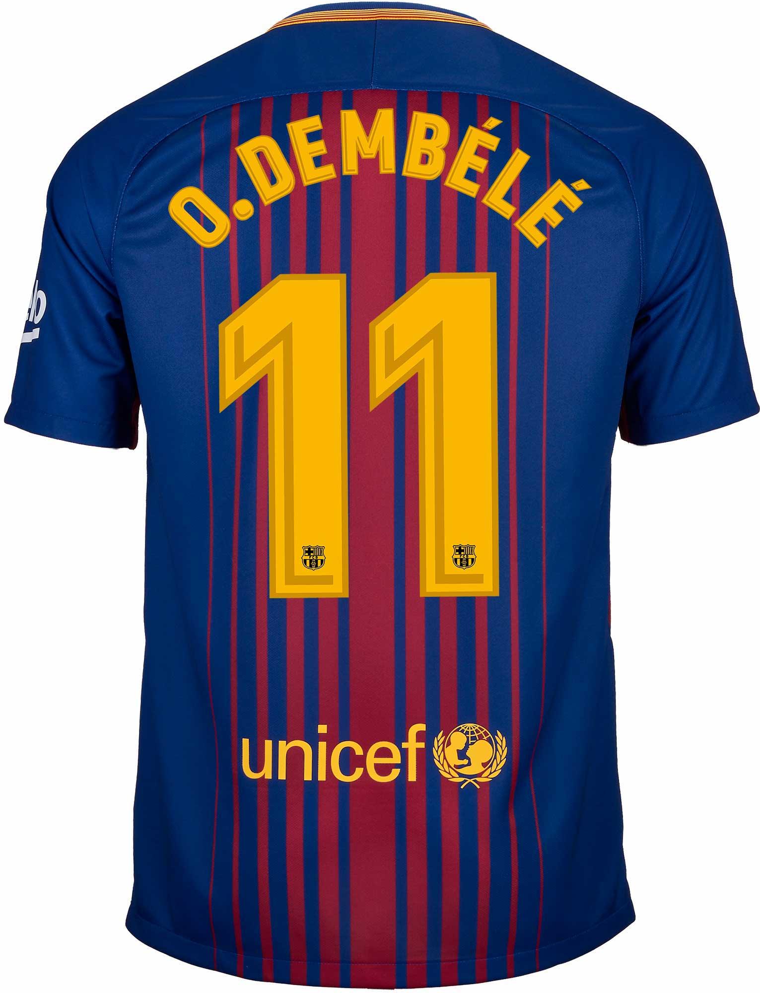 wholesale dealer fa95e 04e0e Nike Ousmane Dembele Barcelona Home Jersey 2017-18