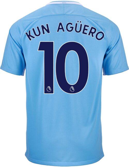 Nike Kids Sergio Aguero Manchester City Home Jersey 2017-18