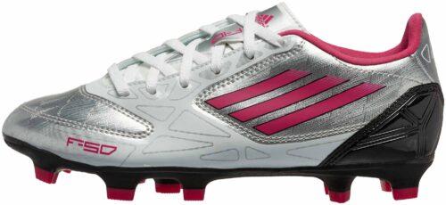adidas Womens F10 TRX FG Soccer Cleats  Silver/Pink/Black