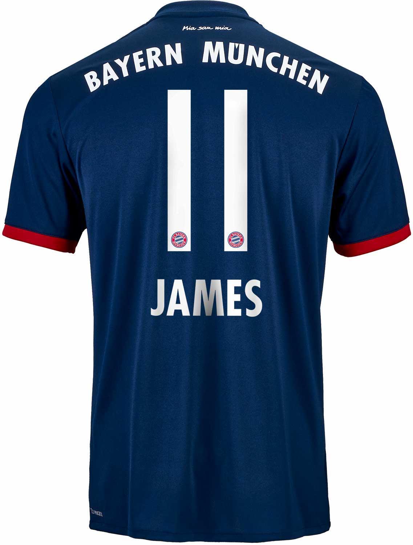 89cd7d44a 2017 18 adidas James Rodriguez Bayern Munich Away Jersey